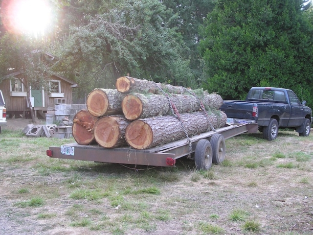 September 2012. Fir logs from Rainbow Valley Rd, one load. Logs were milled and 2x6's subsequently picked up by customer