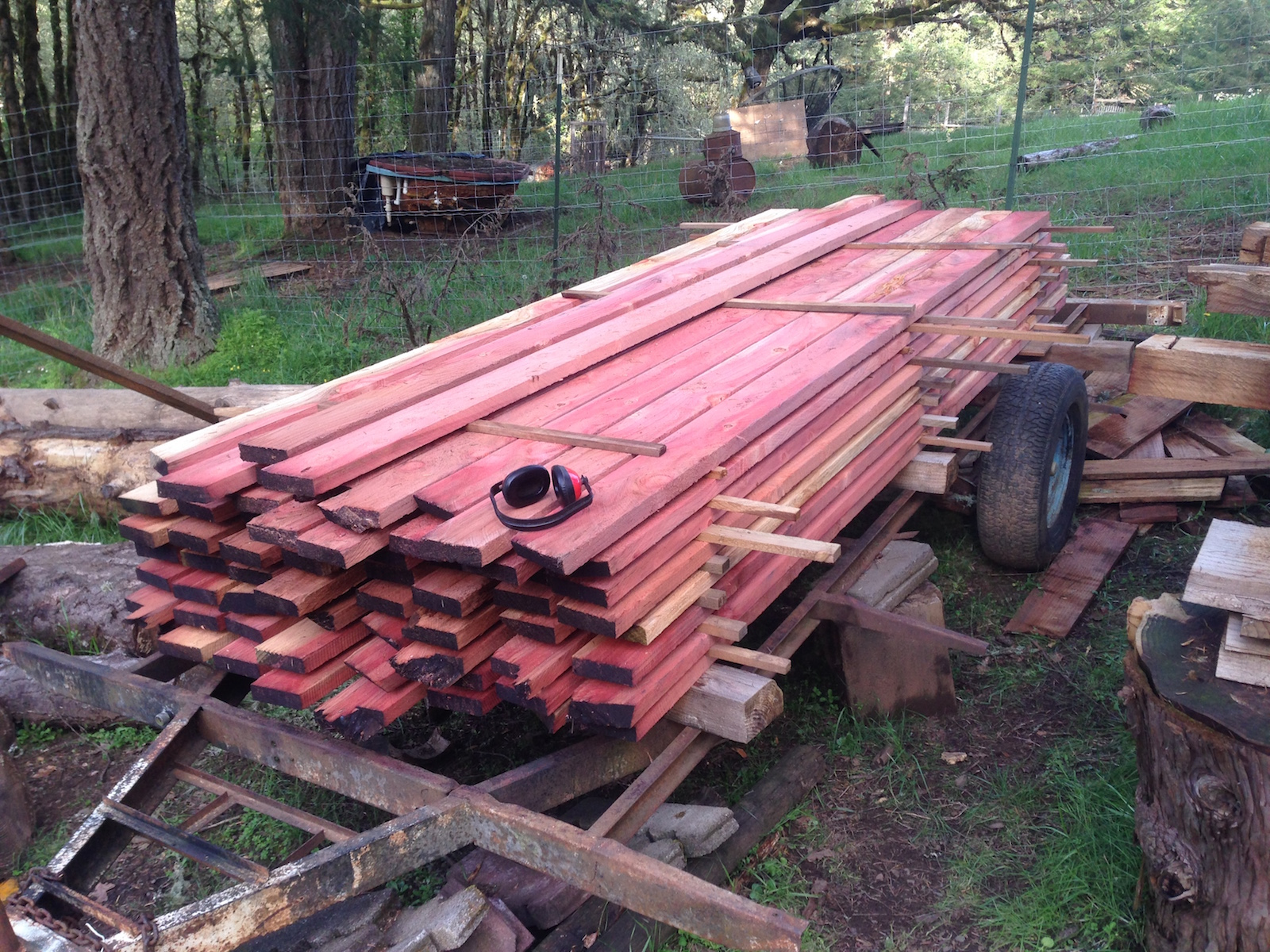 Approx 800 bd ft of rough-sawn redwood decking for the front deck of a neighbor's yurt